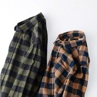 LFF 2018 Men Fashion Autumn Vintage Classic Flannel Plaid Loose Cotton Thick Long Sleeve Shirt Male