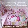 Descuento! 6 / 7 unids Hello Kitty cuna cuna cubierta del edredón Bumpers bebé recién nacido del lecho Bumpers en la cuna, 120 * 60 / 120 * 70 cm