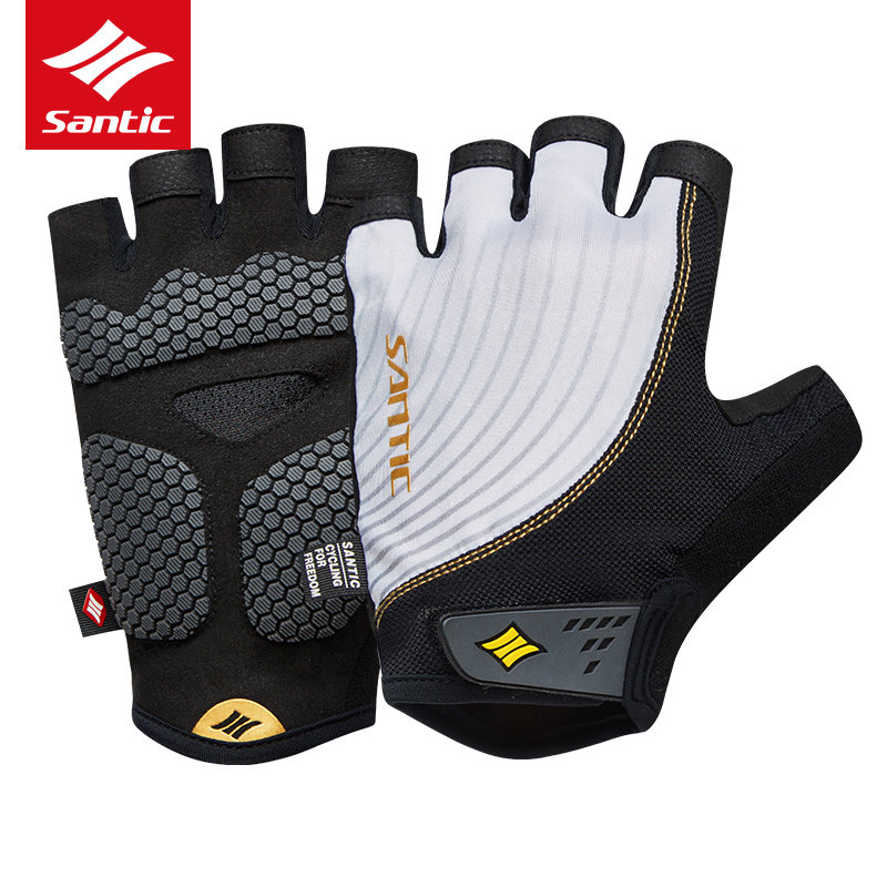 Santic Men Cycling Gloves Half Finger Wearable Racing PRO Tour de France Road Bike Bicycle Gloves Guantes Ciclismo 2017 New spakct bike cycling men s gloves winter full finger gloves bike bicycle guantes ciclismo racing outdoor sports black new motor