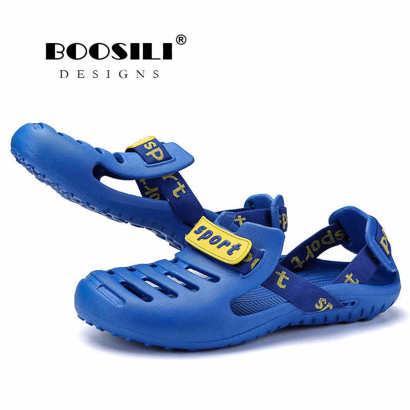 c45365dd7 ... 2019 Sale Real Brand Fashion Sandals Eva Clogs Swimming Shoes Men Croc  Band Summer Water Black ...