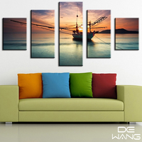Melamine Sponge Board Canvas Oil Painting Pictures Boats Frame Landscape Home Decor Prints Paint 5