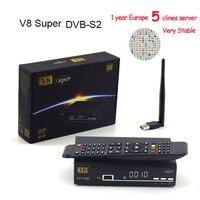 HD Freesat V8 Super DVB S2 Satellite Receiver Full 1080P USB Wifi Antenna For 1 Year