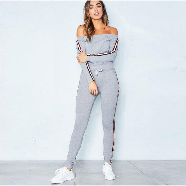 55ab39e69df Off Shoulder Sweatshirt Sweat Suit 2019 Fashion Long Sleeve Striped  Sweatpants Women Two piece Outfits Top and Pants Set