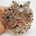 Винтаж стиль бабочка цветок брошка кулон фиолетовый австрийский хрусталь бесплатная доставка