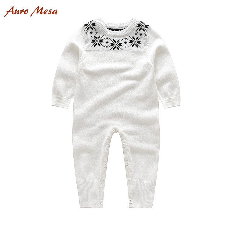 b5b4518791a Auro Mesa Baby Knitting Romper 100% Cotton Full White Jumpsuit Newborn  Costume Newborn baby Knitted one piece clothes -in Rompers from Mother    Kids on ...
