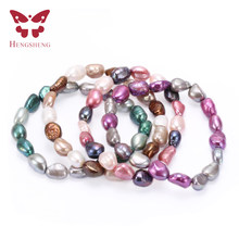HENGSHENG 2019 Hot Baroque Freshwater Pearl Bracelets For Women, Muti Color Elastic Bracelet,Trendy Fine 8-9mm Jewelry Bracelets(China)