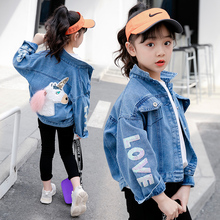 girls denim jacket hot sale 4-13 years old 100-160cm height cotton pocket Washed Embroidered letter cartoon unicorn cute fashion недорого