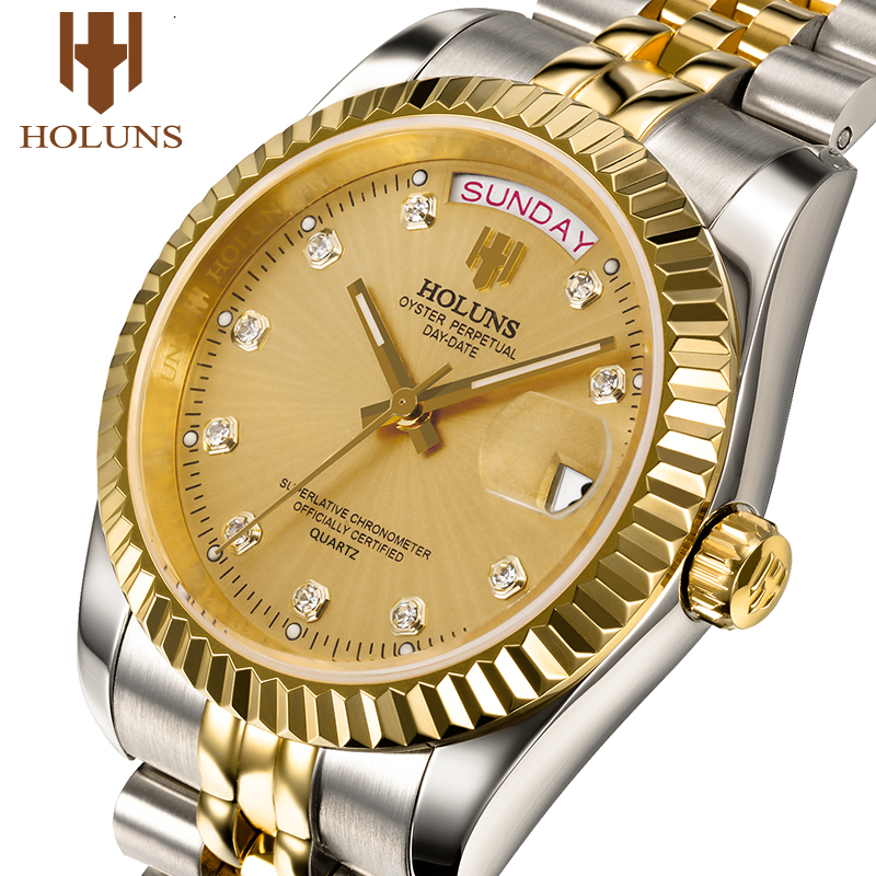 Holuns Mens Watches Top Brand Luxury Gold Diamond Wrist Watch Quartz Business Full Steel Classic Calendar