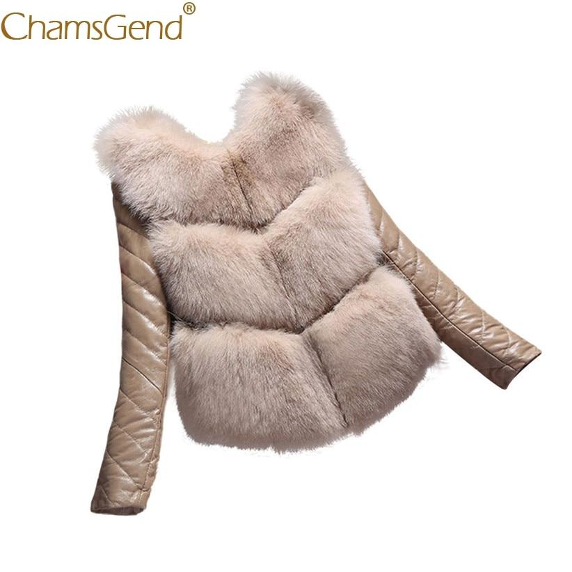 Chamsgend Newly Design Detachable PU   Leather   Sleeve Faux Fur Warm Parkas Women Luxury Winter Warm Coat Vest Jacket 71024