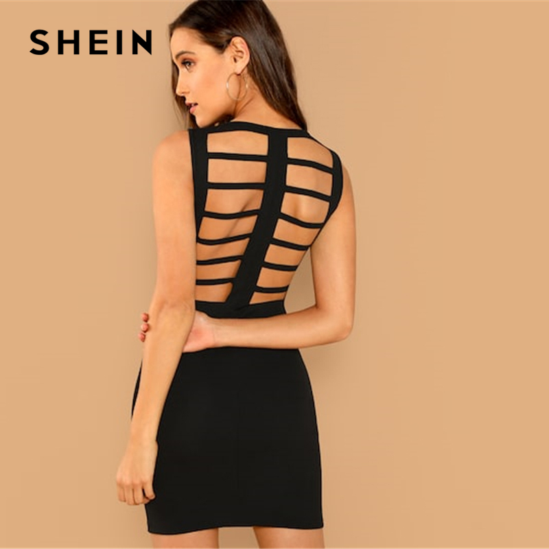 SHEIN noche negro mujer moderna sin respaldo sólido Bodycon ronda cuello vestido de mujer otoño simple vestido de fiesta