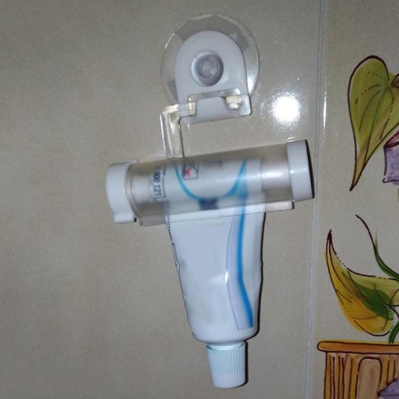 Plastic Toothpaste Dispenser Sucker Holder Rolling Tube Squeezer Dental Cream Bathroom Manual Syringe Gun Dispenser 4