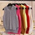 Мода опрятный стиль короткая конструкция рукавов пуловер свитер женский осень-весна жилет женщин о-образным вырезом Сплошной цвет девушка одежда