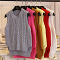 Moda estilo de muy buen gusto del diseño corto suéter del suéter sin mangas chaleco femenino del resorte del otoño mujeres del o-cuello del color Sólido ropa de la muchacha