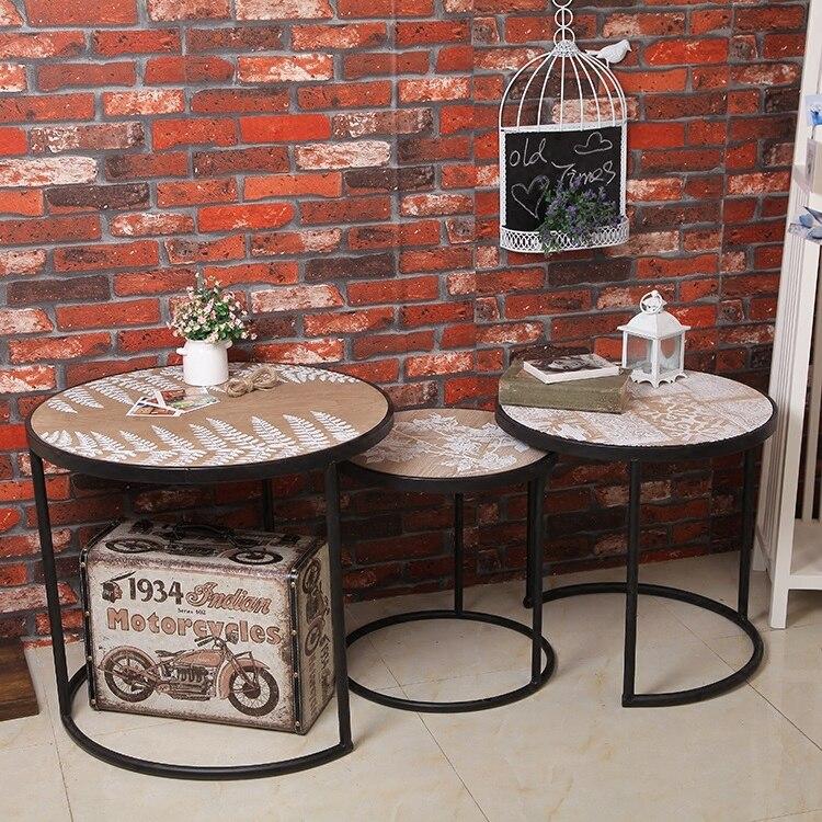 Уникальный промышленные Простой ветер современные металлические круглые Чай Таблица Гостиная устанавливает три отдыха Чай стол ретро Коф...