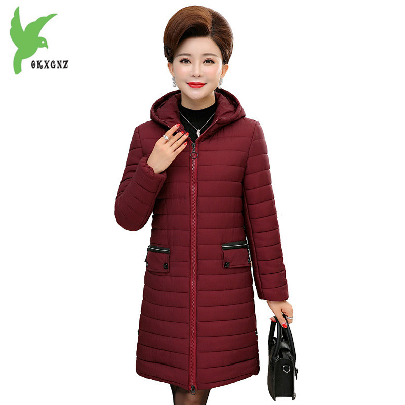 Boutique Middle aged Women Outerwear Winter Down Cotton Jacket Coat Plus size Hooded Parkas Thick Warm Cotton Jackets OKXGNZ1251 middle aged women winter cotton jackets thick warm parkas plus size mother cotton coats hooded fur collar outerwear okxgnz a1238