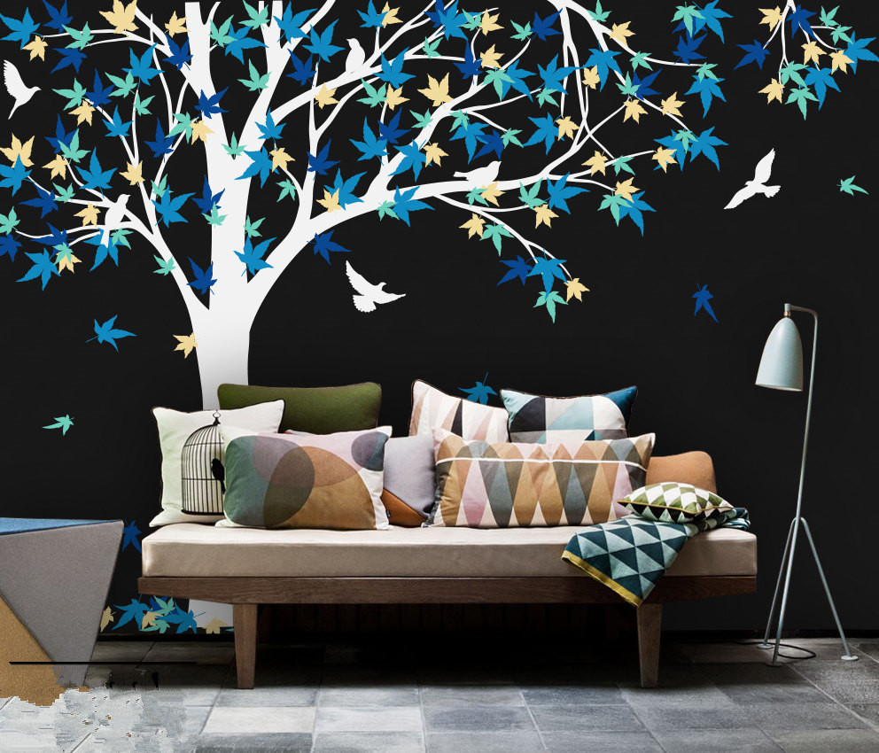 Tree wall decals large personalized family tree decal vinyl wall decal - Large Mural 238x180cm Large Canada Maple Tree Wall Decals Baby Bedroom Nursery Art Pic Vinyl Wall