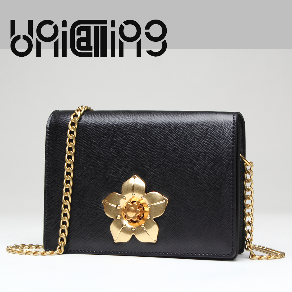 UniCalling Retro flower of Chinese redbud metals turn clasp closure Split Leather women bag mini Chain women crossbody bag unicalling fashion brand split leather crocodile women bag retro top grade bucket bag chain mini crossbody bags for women