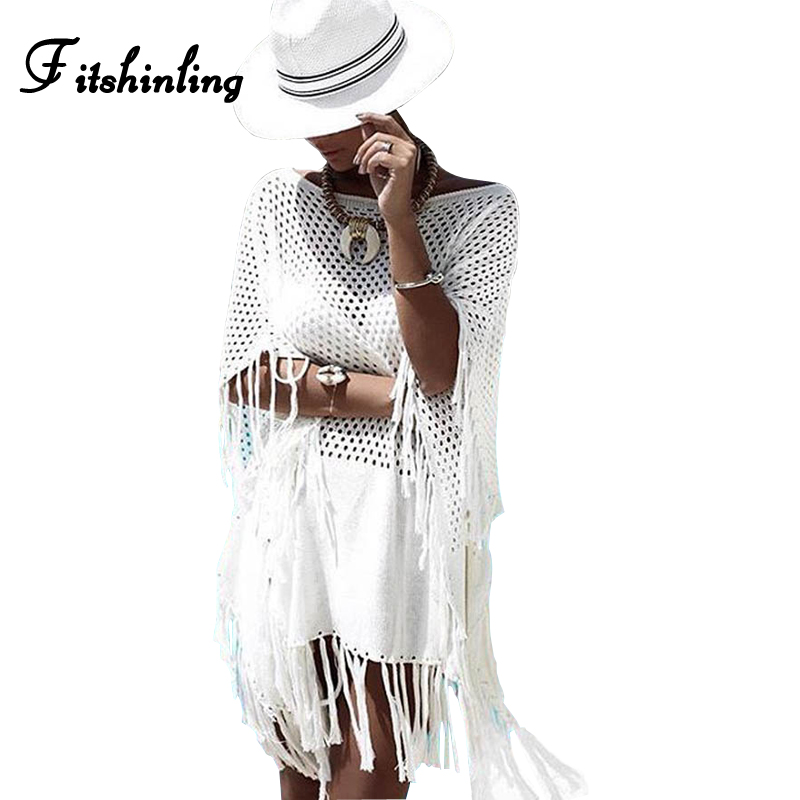 Fitshinling Bohemian fringe summer dress hollow out batwing sleeve knitted beach dresses women pareos 2018 big sizes sarafans