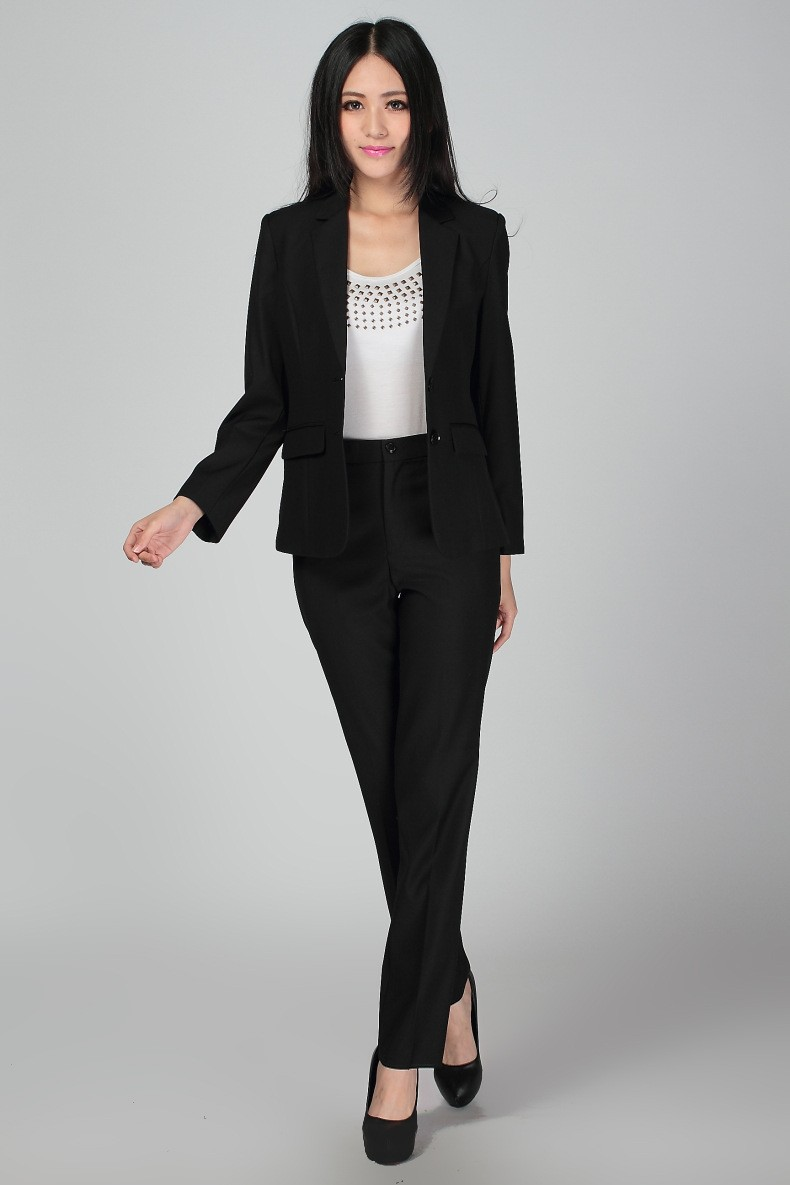 Plus Size S 3XL Women Wedding Black Pants Suits Work Wear Single ...