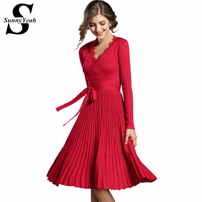 SunnyYeah Autumn Winter Knitted Dress Women Long Sleeve Sexy V-neck Vintage Ladies Casual Party Dresses Femme Vestidos Robe цена