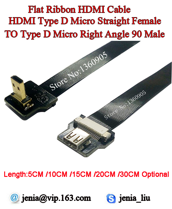 5/10/15/20/30CM Ultra Thin HDMI Cable Straight Type D Micro Female to Male Micro Right Angle 90 Degree Flat Ribbon Cable FPV DJI greenhouse gas mitigation