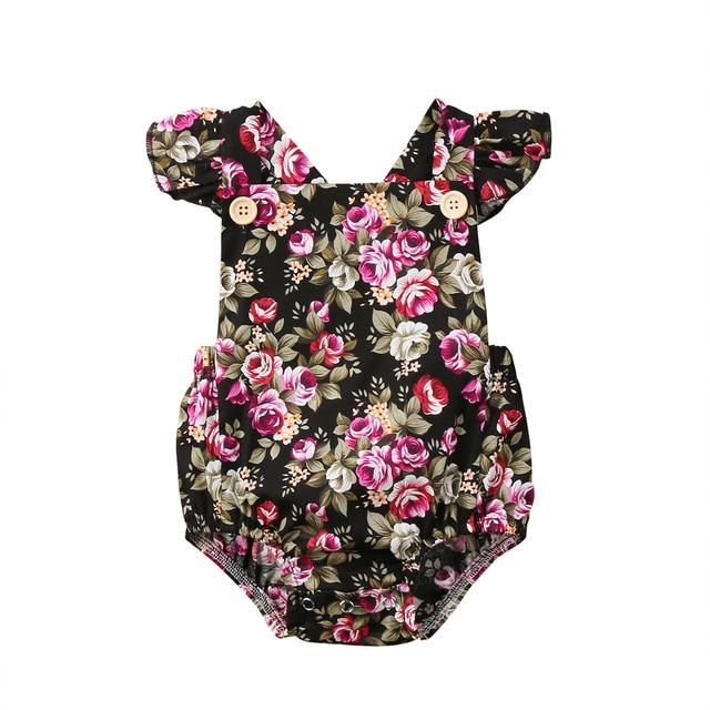 cb4e263f31e4 Cute Newborn Baby Girls Floral Romper Jumpsuit Outfits Sunsuit ...