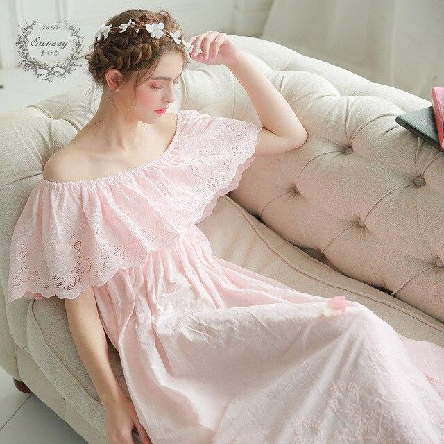 2017 Nueva Summer Long Princesa Camisón Camisón de Las Señoras camisa de Dormir Las Mujeres ropa de Dormir Ropa de Dormir de Algodón Blanco Vestido de 2130