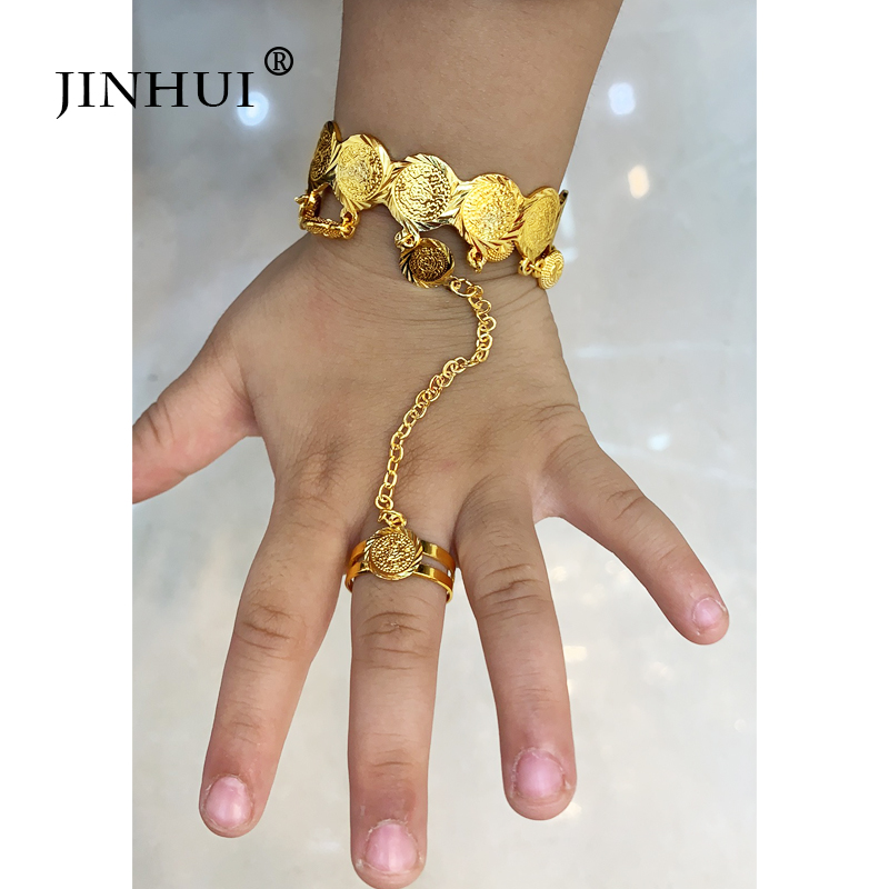 Jin Hui 1pieces of Gold Copper <font><b>Bracelets</b></font> for Girls Dubai Jewelry <font><b>Bracelet</b></font> <font><b>ring</b></font>,boys Children African gifts kid Birthday present image