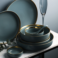 KINGLANG 2 or 4 or 6 person set Golden edge plates Ceramic Dinnerware Set NEW Blue Golden Ceramic Tableware Set Wholesale
