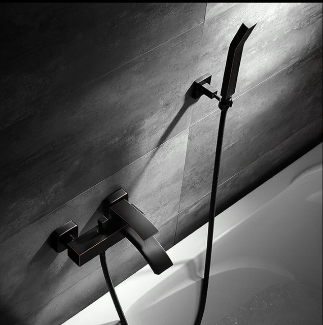 Wall Mounted Bathroom Faucet Black Oil Brushed Bath Shower Hand Held Sets