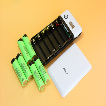100pcs/lot KingWei Power Bank Battery Case Plastic holder With usb Cable Charge for Laptop Mobile Phone Black+White