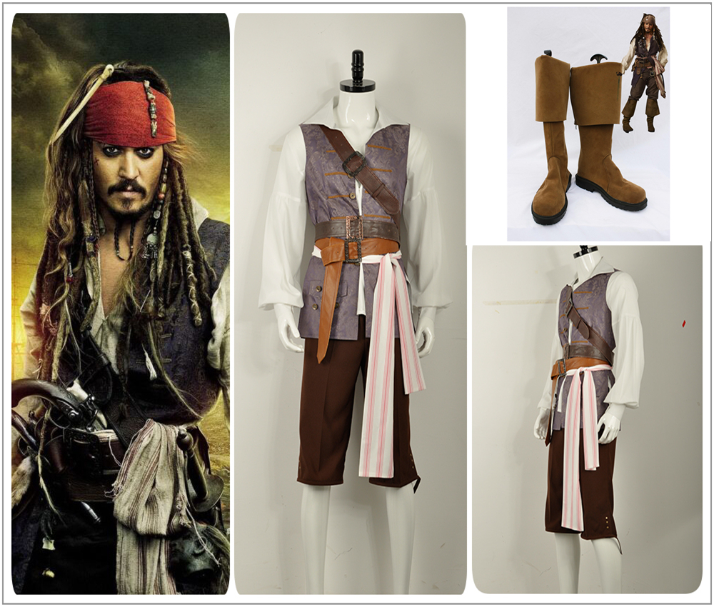 Hot Pirates of the Caribbean Jack Sparrow Cosplay Costume Halloween Outfit Coat