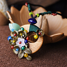 women necklace  flower wood pendant autumn winter sweater necklaces ethnic beautiful jewelry accessories free shipping X165