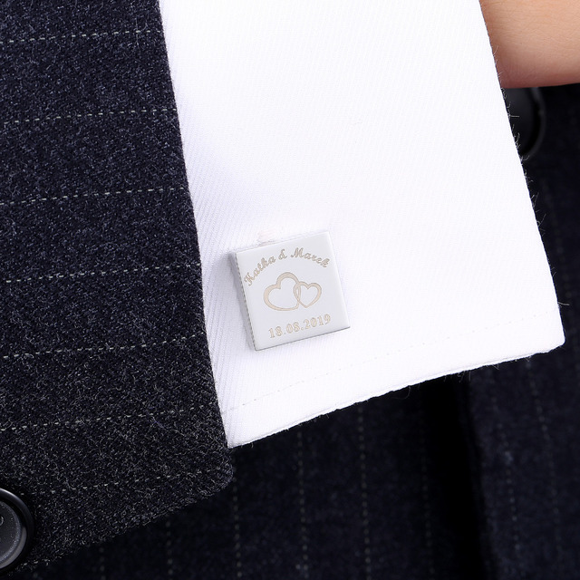 Personalized Mens Shirt Cufflinks Sliver Square Cufflink Wedding Groom Laser Engraved Gemelos Jewelry