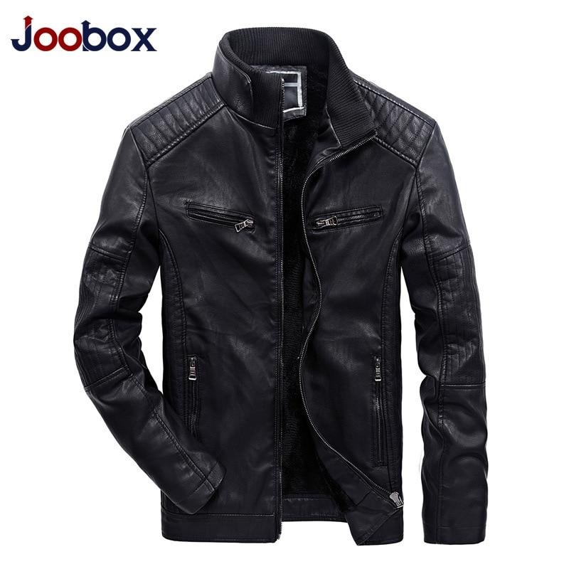 JOOBOX 2018 Новый Для мужчин Кожаная куртка Демисезонный Мода Высокое качество PU Повседневное байкерская куртка мужской верхней одежды и пальто...