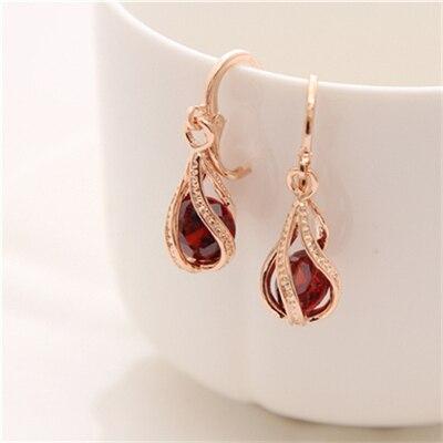 ZOSHI 2017 HOT Sale Fashion Classic Gold Color Dangle Earrings For Women Brand Romantic Crystal Drop Earrings Jewelry Women