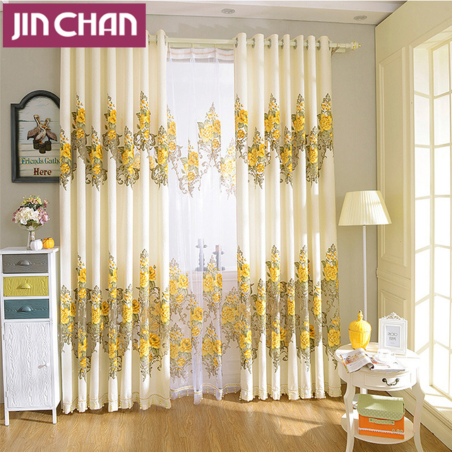 Yellow flower pattern burnout window curtains for living room drapes yellow flower pattern burnout window curtains for living room drapes for bedroom customized mightylinksfo