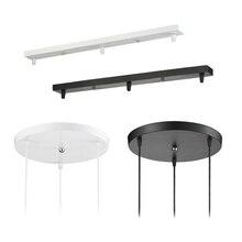 נברשת תקרה רכוב צלחת 3 ראשי תליון מנורת בסיס עגול ארוך תקרת בסיס חופה DIY השעיה תאורת אביזרים