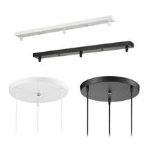 Lustre de teto montado placa 3 cabeças pingente base da lâmpada redonda longa base teto dossel diy acessórios iluminação suspensão