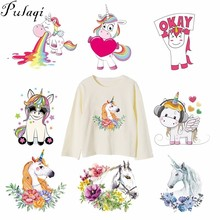 Pulaqi Cute Unicorn Flower Patches Iron On Transfers Heat Thermal Transfer Patch For T-Shirts Cartoon Animal Decor Kids F