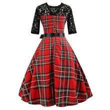 Mujeres Vintage medio sleeveg Plaid Lace suave y cómodo Patchwork Evening Party Prom Swing vestido L50/0202