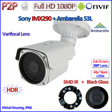 H.265 Outdoor 1080P IP Cam IMX290 Sensor 2MP Camera Ambarella Night Vision P2P telecamere IP, ONVIF, Varifocal Lens, HDR,Bracket