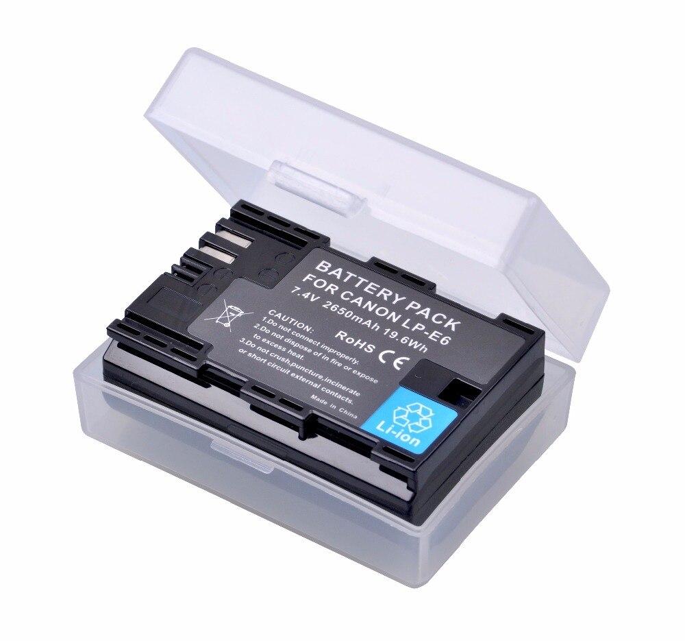 2650 mAh LP-E6 LPE6 LP E6 lp-e6n batería para Canon EOS 5D Mark IV 5D2 5DS R Mark II 2 III 3 6D 60D 60Da 7D 7D2 7DII 70D batería