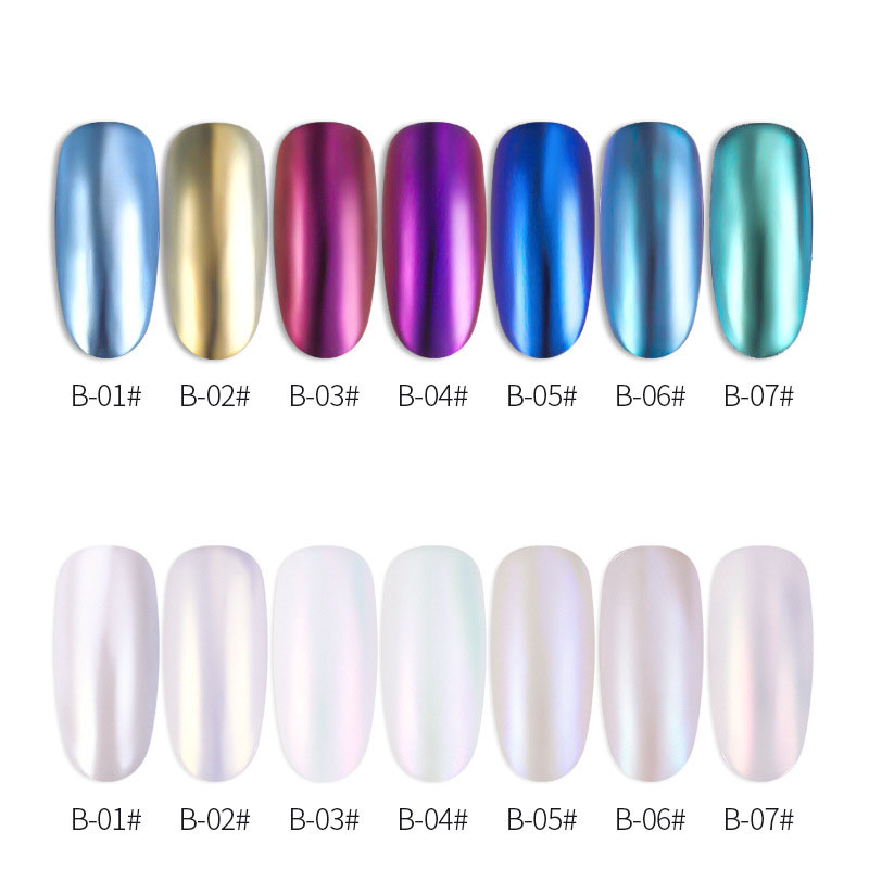 0 1g Mirror Glitter Nail Chrome Pigment Shell Dazzling DIY Salon Micro Holographic Powder Laser Manicure Decorations in Nail Glitter from Beauty Health