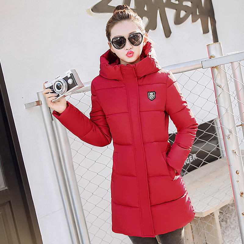 ФОТО Plus Size Hot 2017 Basic Winter Casual Brand Women  Coat Hooded Outwear Cotton Padded Warm Parka Woman Long Wadded Jacket P948