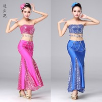 New Belly Dance Peacock Tube Top Skirt Head Flower Belly Dance Costumes Sexy Slit Ballroom Bellydance