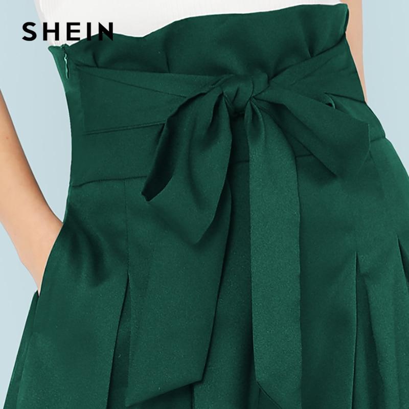 Aliexpress.com  Comprar SHEIN verde elegante Oficina señora Self Belted Box  plisado Palazzo alta cintura minimalista pierna ancha pantalones 2018 otoño  ... 447ba49f2138