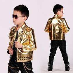 Одежда для маленьких мальчиков модная кожаная куртка золотистого цвета для детей Дизайнерская Одежда для танцев на сцене с заклепками на м...