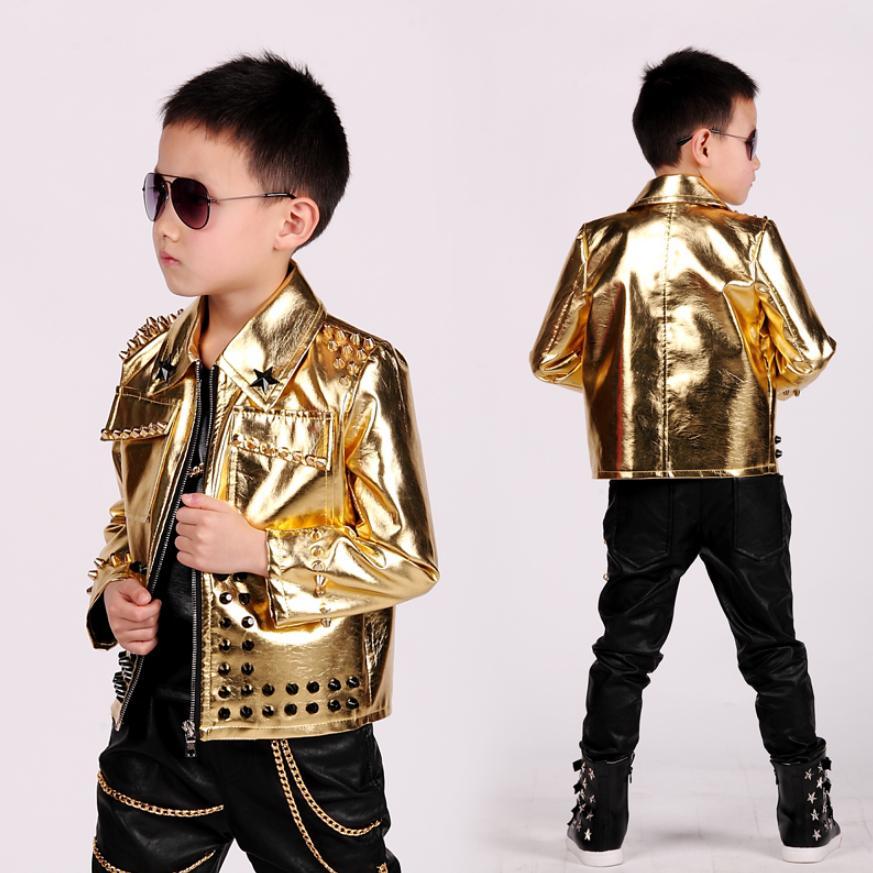 Baby boy clothes fashion Gold children leather jacket rivet zipper design stage dance clothes modis kids Hip hop outerwear Y1232