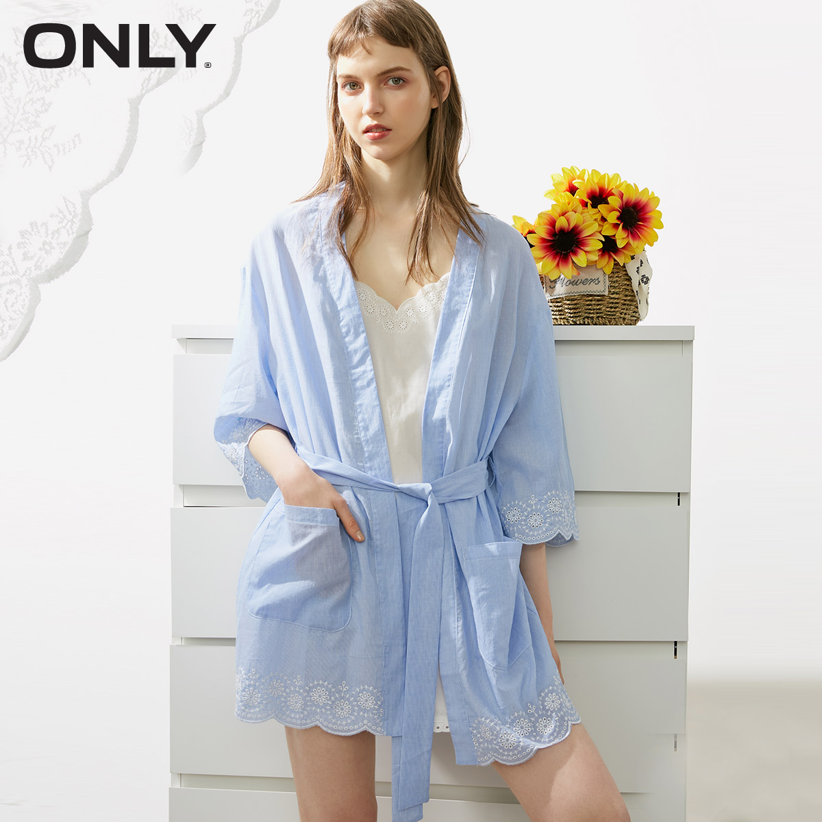ONLY 2019 Spring Summer New Women's Lace-up Embroidered Leisure Night Gown |1182R8501